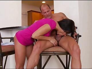 A MILF welcomes her man home